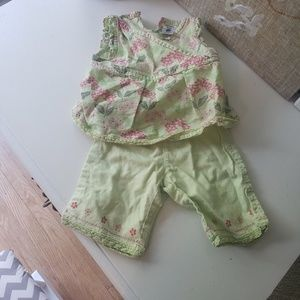 3 month girl green flowered shirt and pants outfit